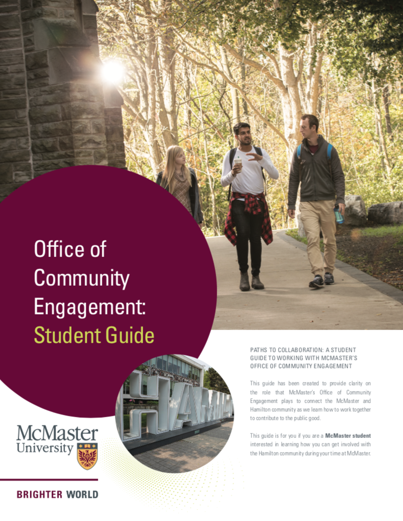 Image of the Office of Community Engagement's Student guide.