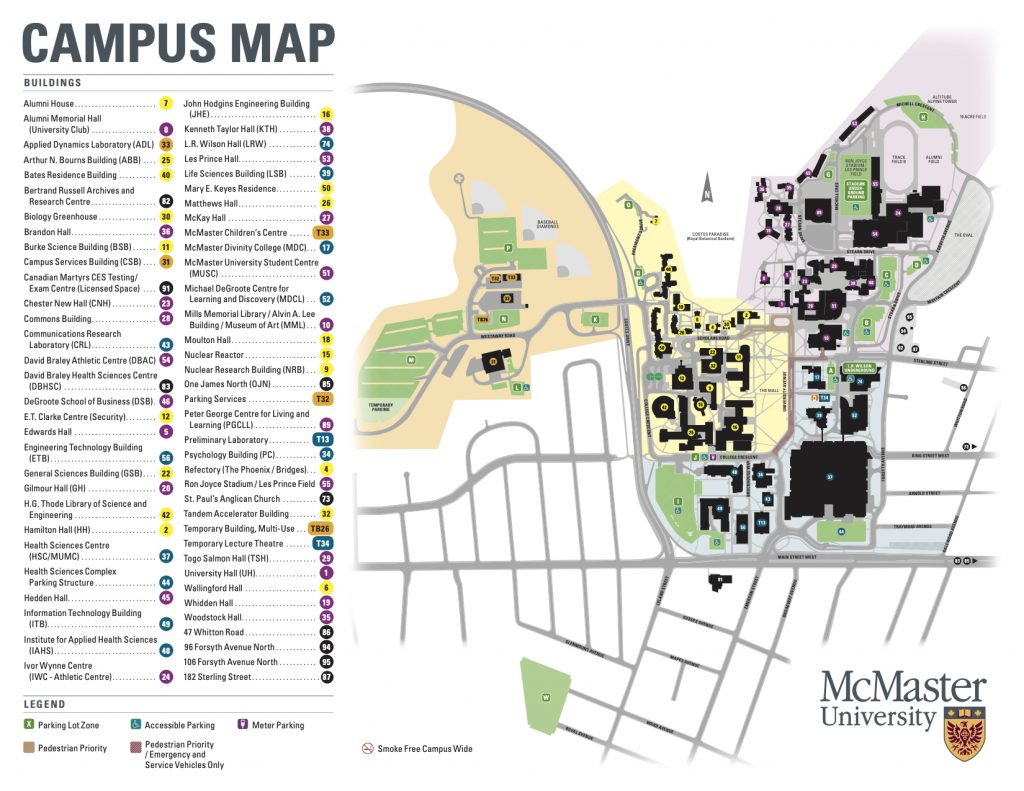 Map of McMaster University Campus with all buildings marked.