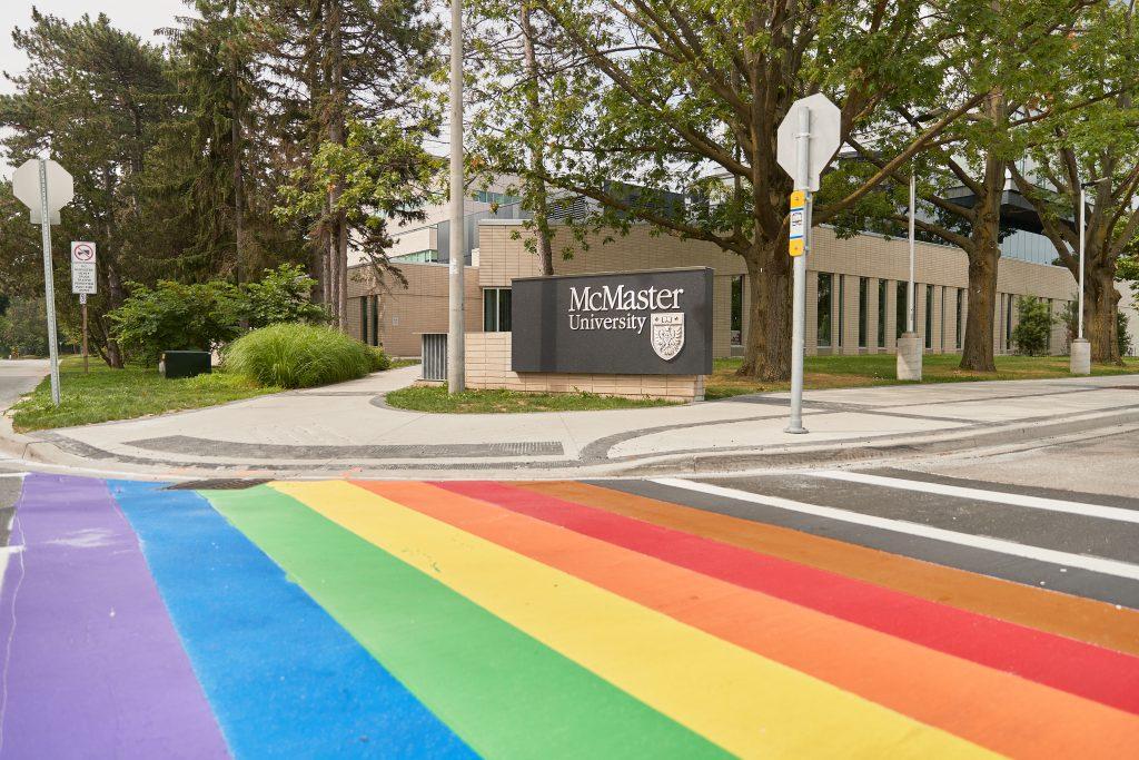 Rainbow crosswalk at Sterling, McMaster University